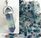 FLUORITE Crystal Point Pendant Necklace Green Purple Blue healing chakra reiki