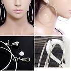 #E122S Pair CLIP ON 7cm HOOP EARRINGS Dangling Big Huge Round Circle Fashion New
