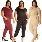 New Womens Jumpsuit Plus Size Ladies All in One Suede Cowl Neck Full Length Warm
