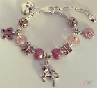 Girl's / Child's Silver Plated Personalised Pink Unicorn Charm Bracelet