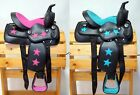 """10"""" Children's Pony Synthetic Western Saddle Headstall Breast Collar Set w Stars"""