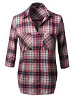 FashionOutfit Women's Flannel Plaid Checker Roll Up Sleeves Button Down Shirt