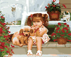 """DIY Little Girl Paint By Number Kit 16x20"""" Acrylic Oil Painting on Canvas 1390"""