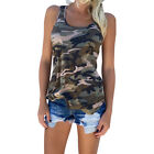 ES  Women's Casual Army Camouflage Tank Top Summer O-Neck Sleeveless T-Shirt Lat