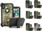 Apple iPhone X Defender Case Rugged Shockproof Camo Cover w/ Clip Fits Otterbox