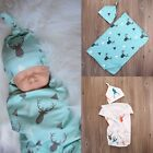 USA Newborn Infant Bed Muslin Swaddle Baby Deer Blanket Swaddling Wrap Towel