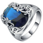New 925 Silver Sapphire Gemstone Ring Wedding Women Men Date Party Lot