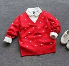2017 New Little Girls Butterfly Cardigans 100%Cotton Red Sweater Tops Christmas