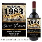 Personalised Born in 1983 Year Happy 35th Birthday Wine Champagne Bottle Label