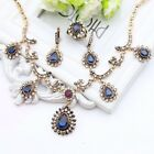 Vintage Style Jewelry Set Necklace Earrings Ring Bracelet Crystals Ethnic