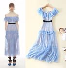 2018 Occident style HOT runway fashion A word collar lace Waist Lace Full dress