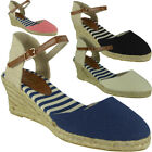 Womens Ankle Strap Wedges Ladies Espadrilles Comfy Mid Heel Canvas Shoes Size