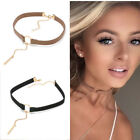 90'S Punk Fashion Leather Choker Necklace Gold Plated With Round Pendant Collar