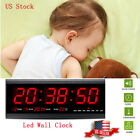 Modern Digital Calendar Temperature Large Big Digits LED Wall Desk Clock USA