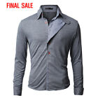 [FINAL SALE]Doublju Mens Long Sleeve Jersey Shirt With Checkered Pattern Detail