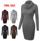 [final Sale]doublju Cowl Neck Ribbed Knit Fitted Sweater Dress