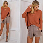 Women Loose Clothes Long Sleeve Knitted Bandage Sweater Pullover Blouse Tops