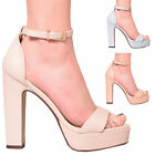 New Ladies Womens Platform High Chunky Heel Peep Toe Ankle Strap Shoes Size 3-8