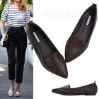 AnnaKastle Women Solid Vegan Leather Point Toe Loafer Chic Flat Shoes Dark Brown