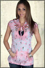 Butterfly Dropout Floral Fina Womens Short Sleeve Keyhole Hoodie Top Pink XS-M