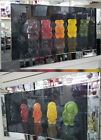 Jelly babies multi coloured with liquid art & bevelled mirror frame picture.