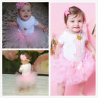 Newborn Baby Girl 1st Birthday Tutu Dress Outfit Sets Princess Girl Clothes Pink