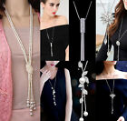 Fashion Women Girls MultiLayer Long Pearl Necklace Pendant Sweater Chain Jewelry