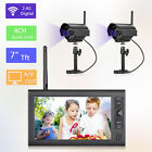 "Wireless CCTV Security System 7"" LCD 4CH Monitor IR Night Vision Cameras 2.4GHz"