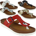 Womens Ladies Comfy Buckle Strappy New Sliders Flats Shoes Slides Slippers Size