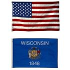 Wisconsin State and American Flag Combo, Made In USA, All Sizes, You Pick
