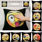 Fashion Sequin Pillow Case Changing Face Emoji Double Color Cushion Cover Decor