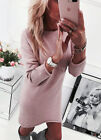 UK Womens Mini Dress Round Neck Long Sleeve Jumper Knitted Sweater Casual Party