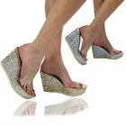 New Ladies Platform Slip on wedges Open Toe Sandals Clear Mules High Heel Shoes