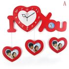 Modern Creative Photo Frame Simple Wooden Heart-Shaped Love Mute Wall Clock