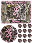 EDIBLE CAKE IMAGE BUCK DEER CAMO PINK ICING TOPPER CUPCAKES SUGAR SHEET PARTY