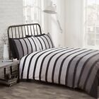 Soho Black Striped Reversible Duvet Set Kingsize RETURN BARGAIN