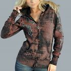 Sinful Womens DOVE CROSS Hoodie M NWT NEW Sweatshirt Rhinestones