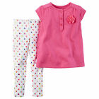 Carters 9 Month Pink Rosette Top & Heart Print Legging Set NWT Baby Girl Clothes