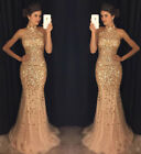 Mermaid Evening Dresses Beaded Crystal Tulle Prom Dresses Sexy Formal Party Gown