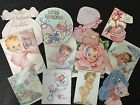 BB54 Lot of 12 Adorable VINTAGE BABY GIRL  GREETING DIE CUTS for crafts making