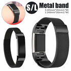 Milanese Stainless Steel Watch Band For Fitbit Charge 2 Wristband Tracker Black