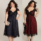 New Women Plus Size Sexy V Neck Lace Dress Loose Casual GOTH