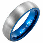 New Mens Tungsten Ring 6mm wide Engraved I Love You in gift pouch