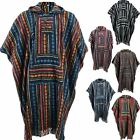 HIPPIE HOODIE PONCHO LONG  ETHNIC MEXICAN STYLE GHERI COTTON FESTIVAL CAMPING