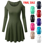 [FINAL SALE]Thanth Women's Long Sleeve Open Shoulder Fit and Flare Dress