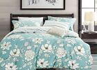 blue floral cotton bedding set: 3pc/5pc duvet cover set or sheet set, all sizes