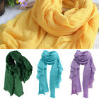 ES_ Women's Fashion Long Cotton Linen Wrap Scarf Shawl Solid Stole Pashmina Prop