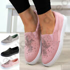 New Womens Flat Casual Sneakers Embellished Trainers Comfy Pumps Ladies Shoes