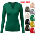 [FINAL SALE]Doublju Womens Long Sleeves Open Slit Neckline Top