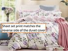 Pink-Purple Cotton Sheet Set:1 Fitted Sheet 1 Flat Sheet 2 Pillowcases All Sizes